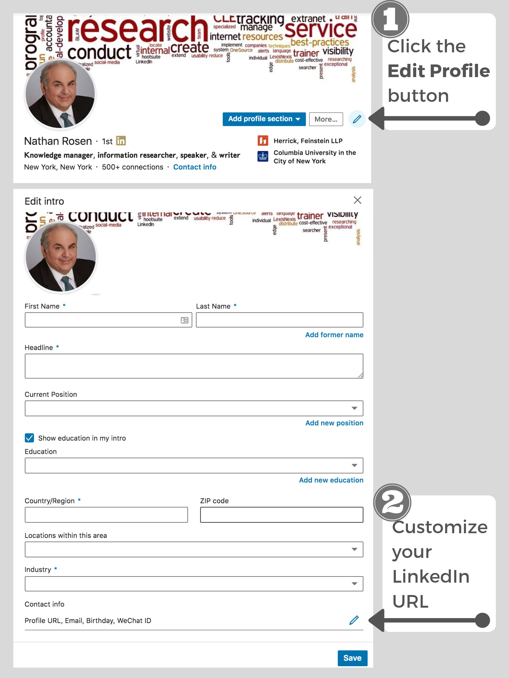 LinkedIn edit URL